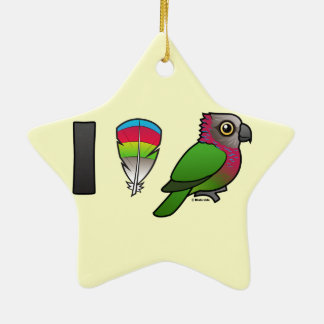 I Love Red-fan Parrots Christmas Ornaments