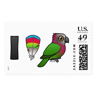 I Love Red-fan Parrots Postage Stamps