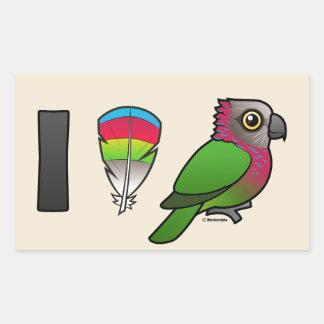 I Love Red-fan Parrots Rectangle Sticker