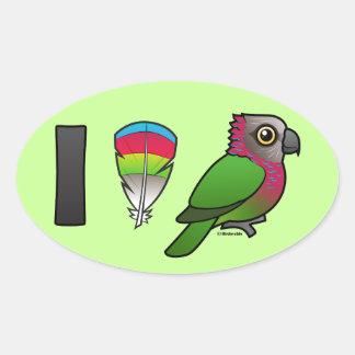 I Love Red-fan Parrots Oval Sticker