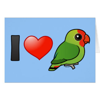 I Love Red-headed Lovebirds Greeting Cards