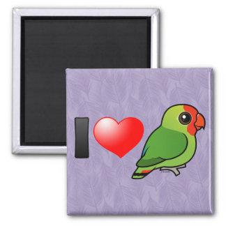 I Love Red-headed Lovebirds 2 Inch Square Magnet