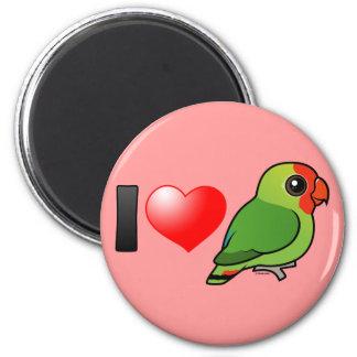 I Love Red-headed Lovebirds 2 Inch Round Magnet