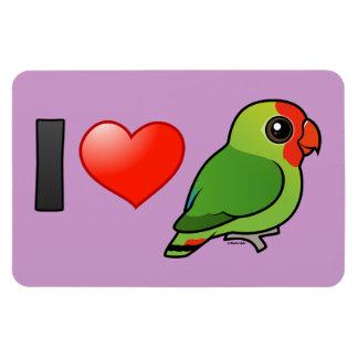 I Love Red-headed Lovebirds Rectangular Photo Magnet