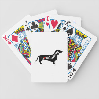 I Love Red Heart my Dachshund Silhouette Bicycle Playing Cards