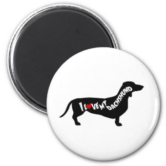 I Love Red Heart my Dachshund Silhouette Magnet