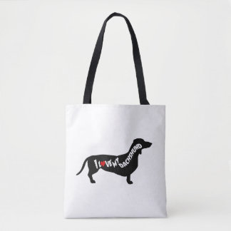 I Love Red Heart my Dachshund Silhouette Tote Bag