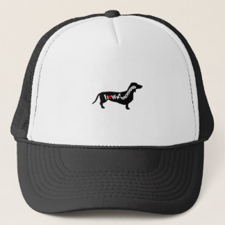 I Love Red Heart my Dachshund Silhouette Trucker Hat