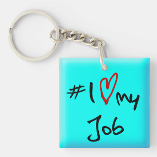 # I Love(red heart) my job square key-ring Keychain
