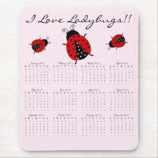 I Love Red Ladybugs 2015 Year at a Glance Mouse Pad