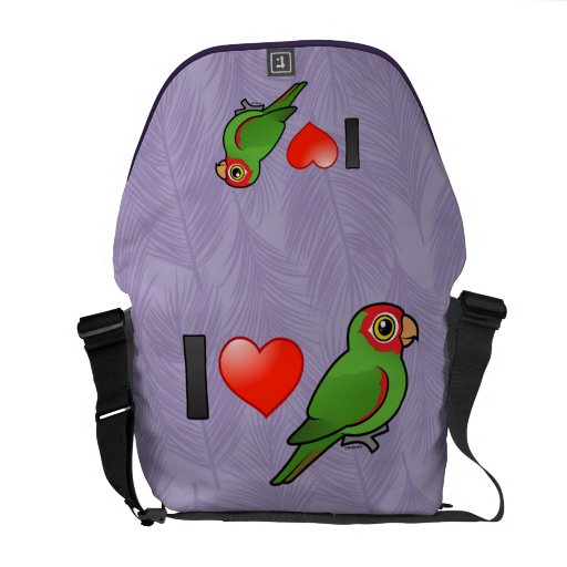 I Love Red-masked Parakeets Courier Bags