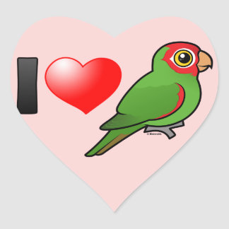 I Love Red-masked Parakeets Heart Sticker