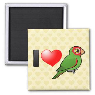 I Love Red-masked Parakeets 2 Inch Square Magnet