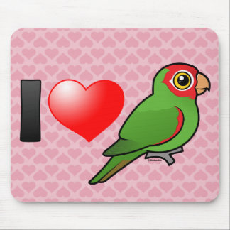 I Love Red-masked Parakeets Mousepads