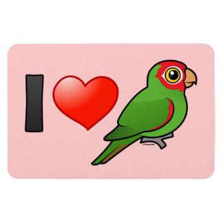 I Love Red-masked Parakeets Rectangular Photo Magnet