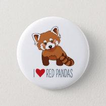 I Love Red Pandas - Cartoon Red Panda Pinback Button