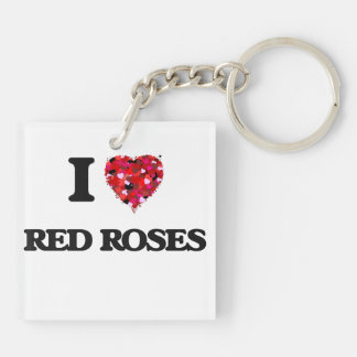 I love Red Roses Double-Sided Square Acrylic Keychain