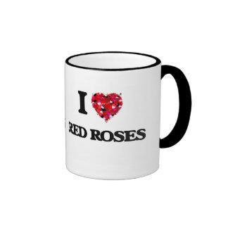 I love Red Roses Ringer Coffee Mug