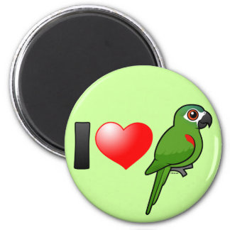 I Love Red-shouldered Macaws 2 Inch Round Magnet
