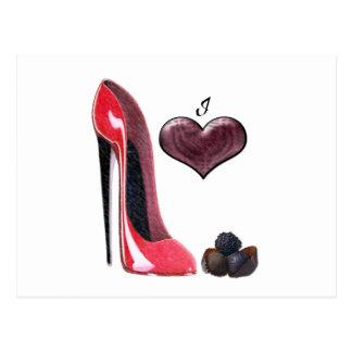 I Love Red Stiletto Shoe and Chocolates Art Postcard