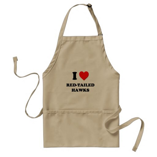 I Love Red-Tailed Hawks Adult Apron