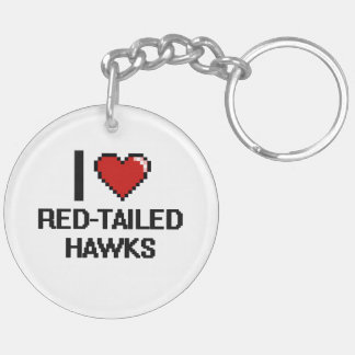 I love Red-Tailed Hawks Digital Design Double-Sided Round Acrylic Keychain