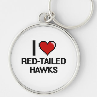 I love Red-Tailed Hawks Digital Design Silver-Colored Round Keychain