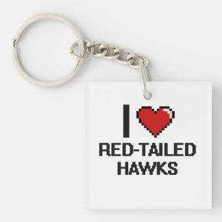I love Red-Tailed Hawks Digital Design Single-Sided Square Acrylic Keychain