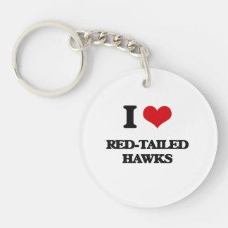 I love Red-Tailed Hawks Single-Sided Round Acrylic Keychain