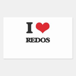 I Love Redos Rectangular Sticker