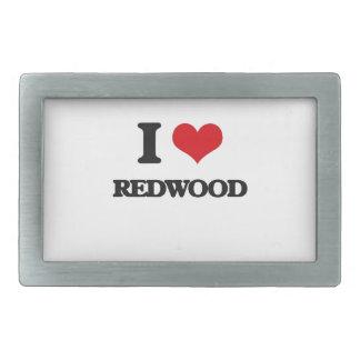 I Love Redwood Rectangular Belt Buckle