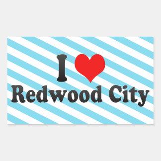 I Love Redwood City, United States Rectangular Sticker