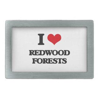 I love Redwood Forests Rectangular Belt Buckle