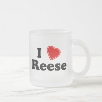 I Love Reese Frosted Glass Coffee Mug