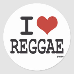 I love reggae classic round sticker