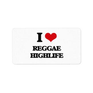 I Love REGGAE HIGHLIFE Custom Address Label