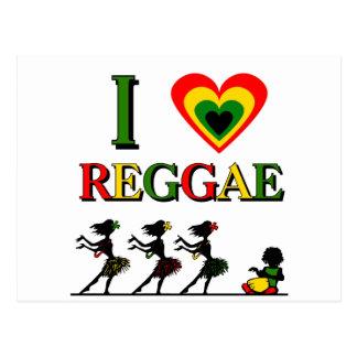 I Love Reggae Postcard