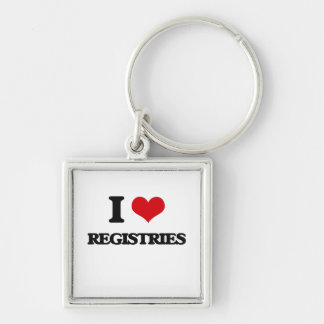 I Love Registries Silver-Colored Square Keychain