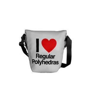 i love regular polyhedras messenger bags