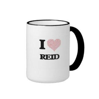 I Love Reid (Heart Made from Love words) Ringer Coffee Mug