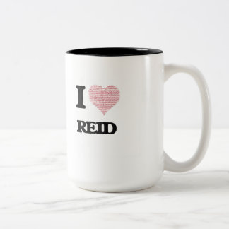 I Love Reid (Heart Made from Love words) Two-Tone Coffee Mug