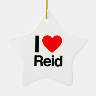 i love reid Double-Sided star ceramic christmas ornament