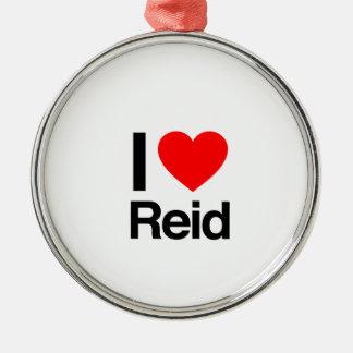 i love reid round metal christmas ornament
