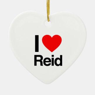 i love reid Double-Sided heart ceramic christmas ornament