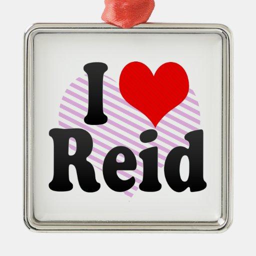 I love Reid Square Metal Christmas Ornament