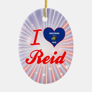 I Love Reid, Wisconsin Double-Sided Oval Ceramic Christmas Ornament