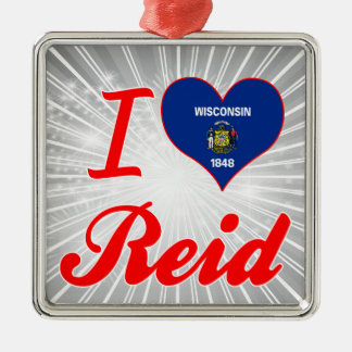 I Love Reid, Wisconsin Square Metal Christmas Ornament