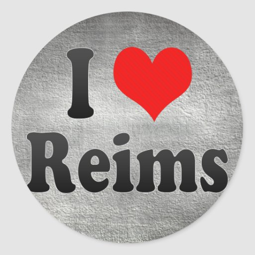 I Love Reims, France Round Stickers