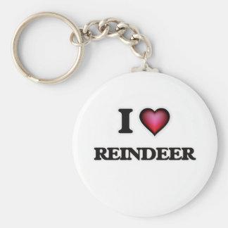 I Love Reindeer Keychain