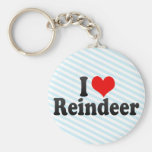 I Love Reindeer Keychains